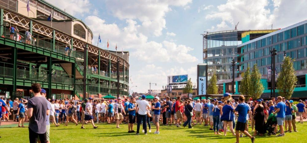 People hanging at Gallagher Way at Wrigley Field